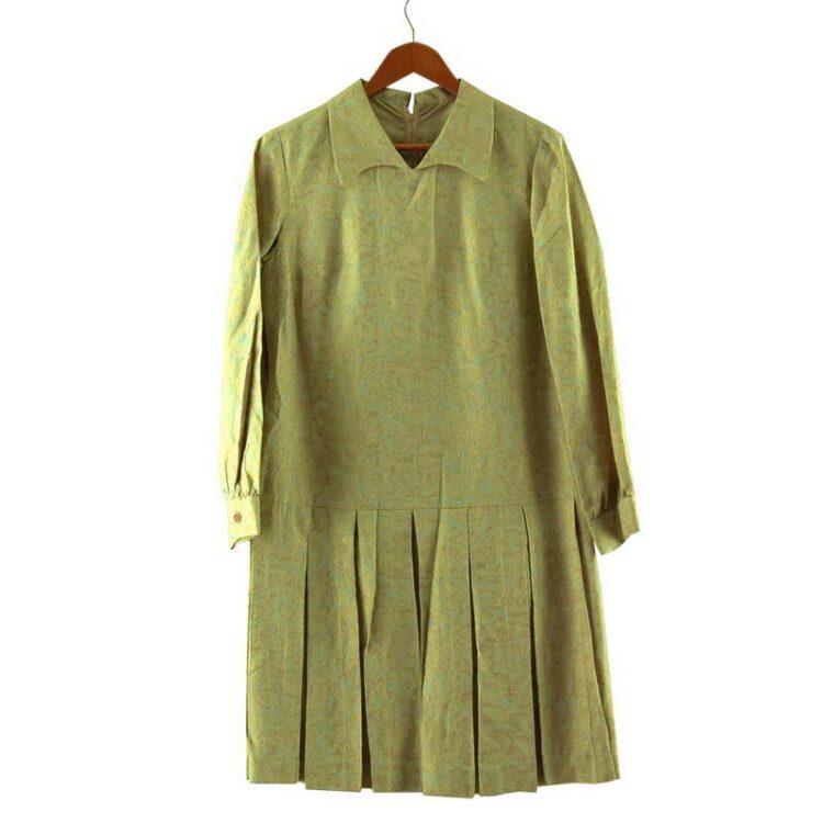 1960s Drop Waist Pleated Shift Dress