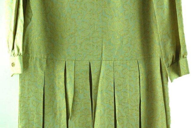 Close up of 1960s Drop Waist Pleated Shift Dress