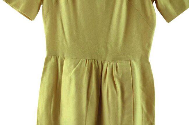 Close up of 1960s Cream Wool Boat Neck Dress