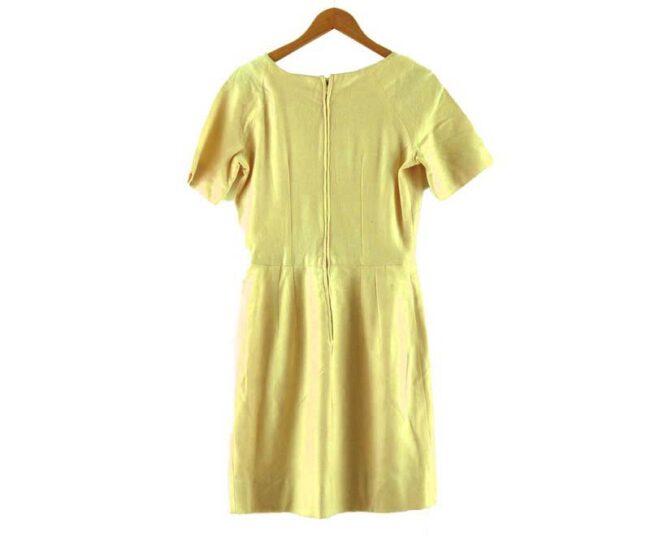 Back of 1960s Cream Wool Boat Neck Dress