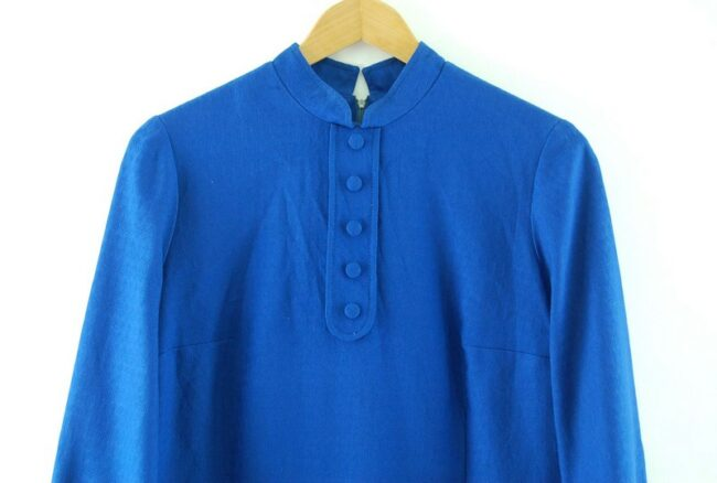 Close up of 1960s Blue Tunic Dress