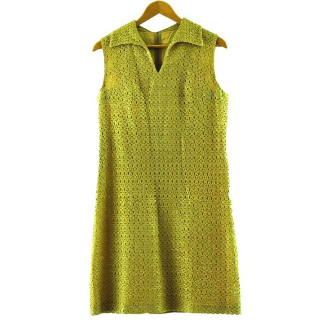 1960s Gold Crochet Shift Dress