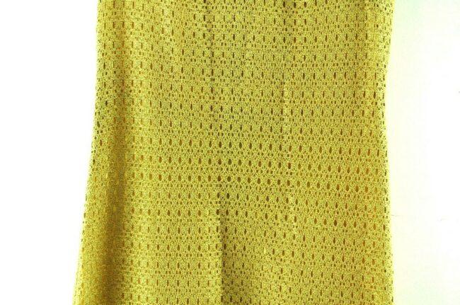 Close up of 1960s Gold Crochet Shift Dress