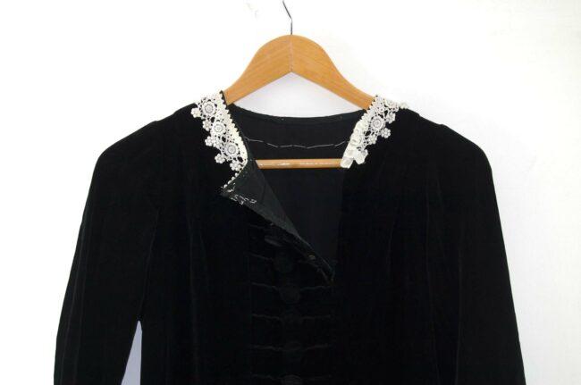 Front of 1960s Black Velvet Dress