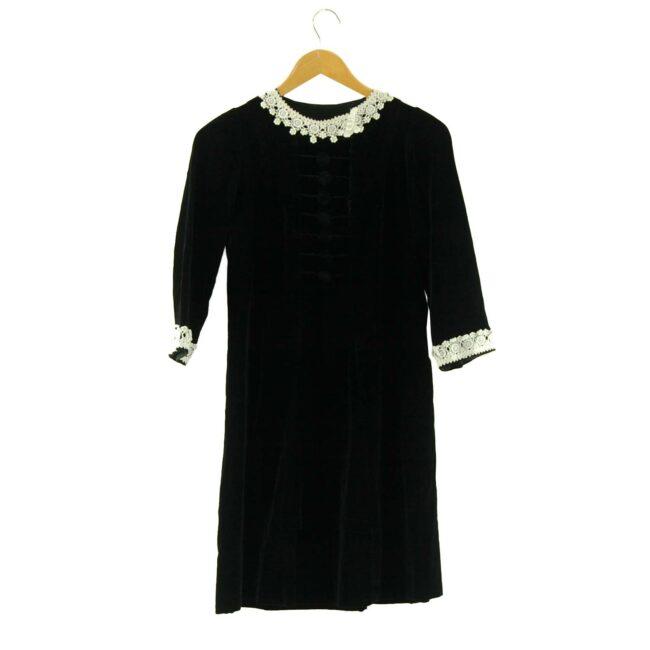 1960s Black Velvet Dress