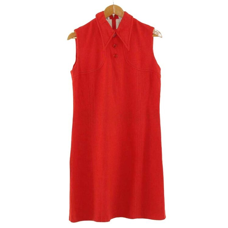 1960s Red Shift Dress with Dagger Collar