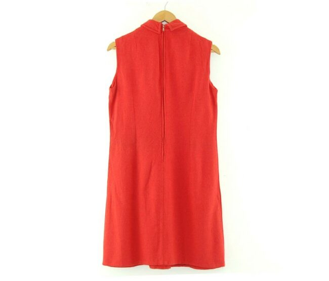 Back of 1960s Red Shift Dress with Dagger Collar
