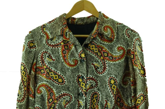 Close up of 1960s Paisley Shirt-Dress
