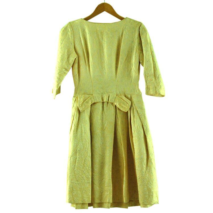 1960s Pastel Yellow Jacquard Dress