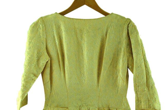 Close up of 1960s Pastel Yellow Jacquard Dress