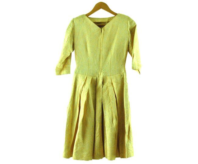 Back of 1960s Pastel Yellow Jacquard Dress
