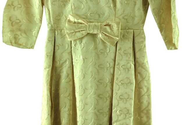 Close up of 1960s Cream Embroidered Dress with Bow
