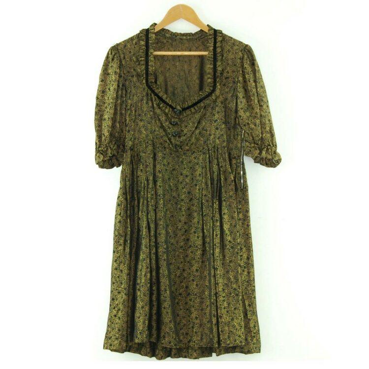 1960s Black and Gold Prairie Dress