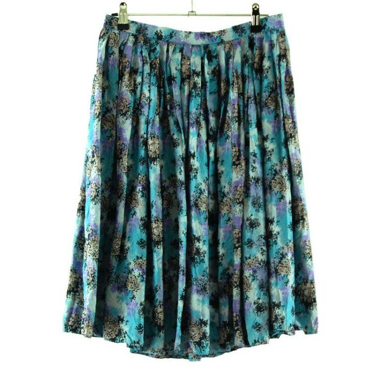 Vintage Abstract Print Silk Skirt