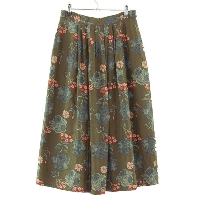 Vintage Grey Floral Silk Skirt
