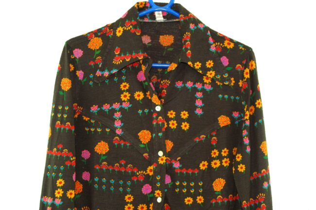 Close up of Brown Floral Blouse with Dagger Collar
