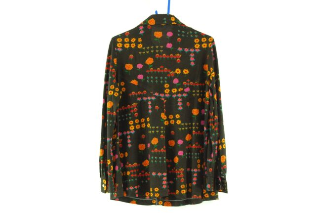 Back of Brown Floral Blouse with Dagger Collar