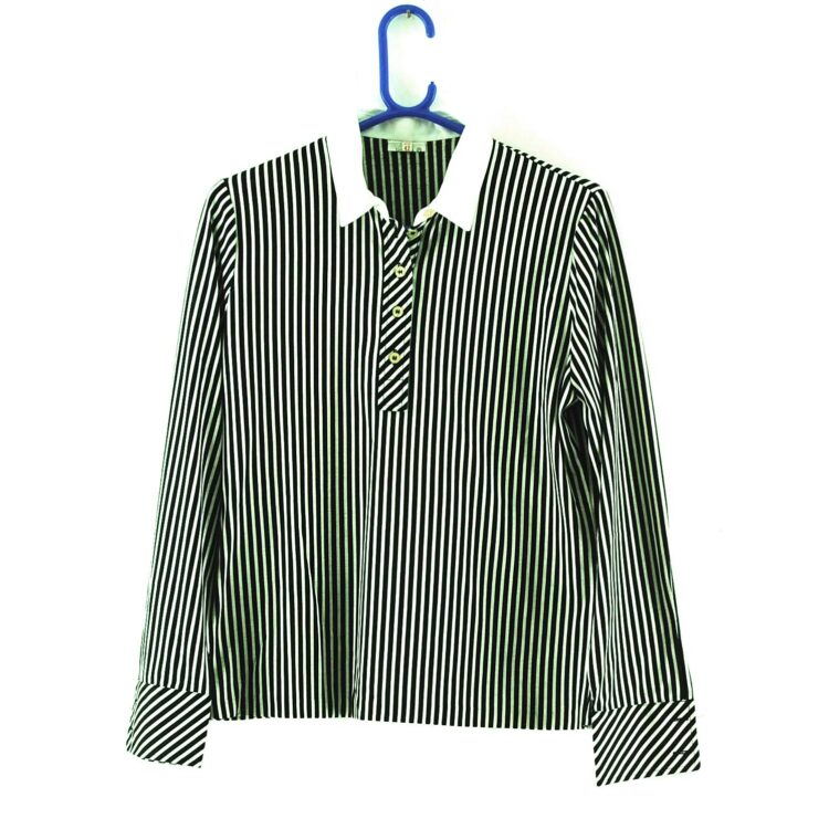 70s Black and White Striped Blouse