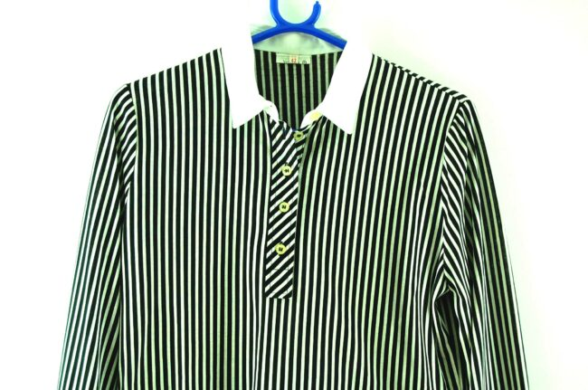 Close up of 70s Black and White Striped Blouse