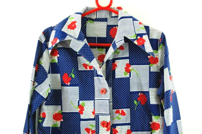 Close up of 70s Floral Patchwork Print Blouse