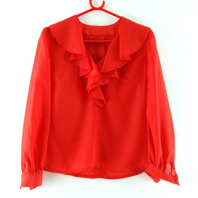 70s Red Flounce Blouse