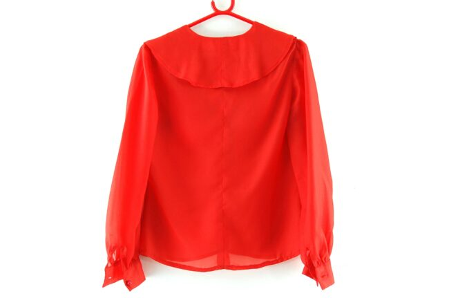 Back of 70s Red Flounce Blouse