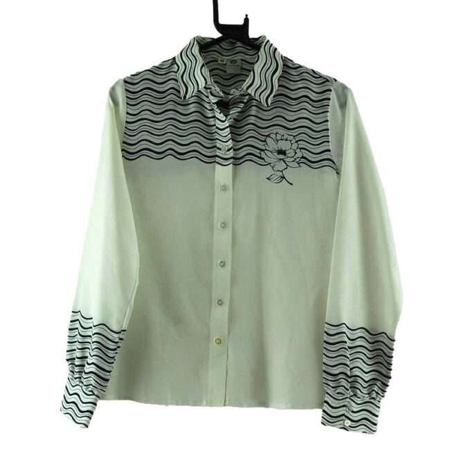 Black and White Waves Print 70s Blouse