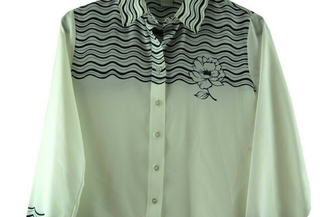 Close up of 70s Waves Print Black and White Blouse