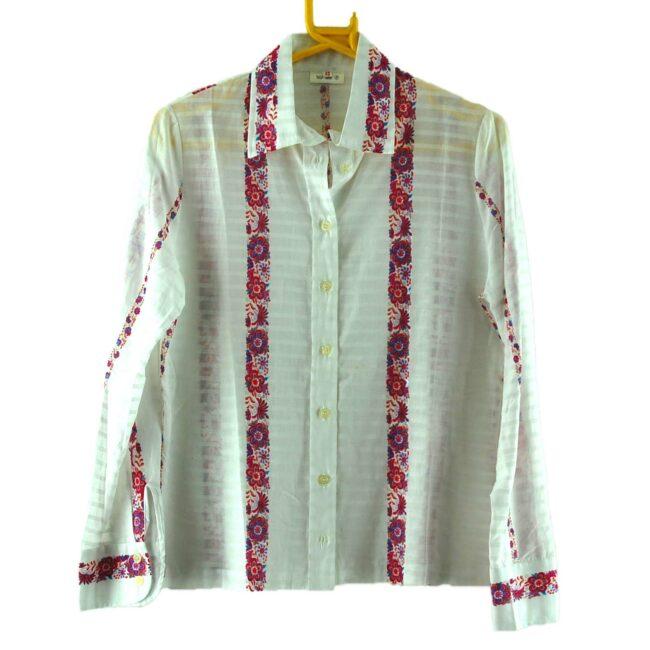 70s Floral Stripes Blouse