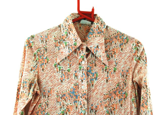 Close up of 70s Crowd Print Blouse