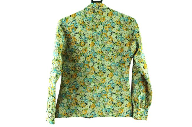 Back of 70s Floral Dagger Collar Blouse