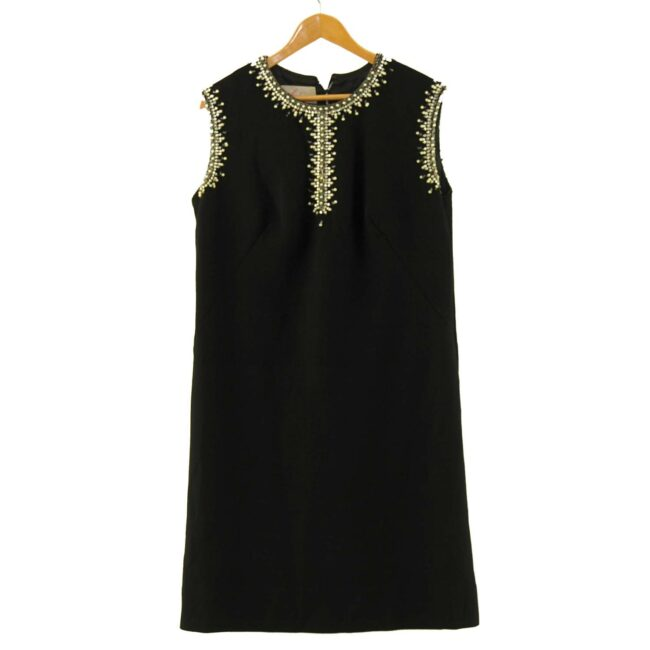 1960s Black Diamonte Shift Dress