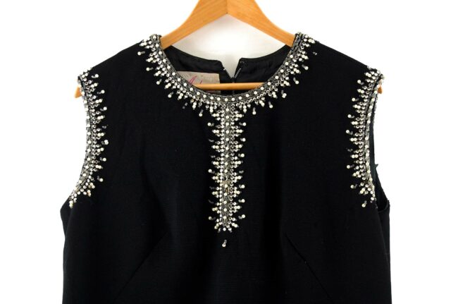 Front close up of 1960s Black Diamonte Shift Dress