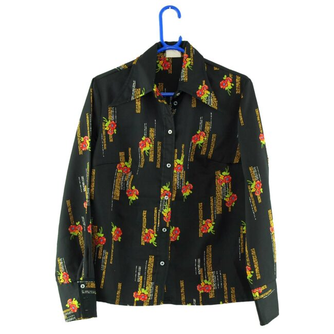 Dagger Collar Black Floral 70s Blouse