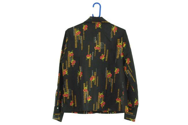 Back of 70s Black Floral Dagger Collar Blouse