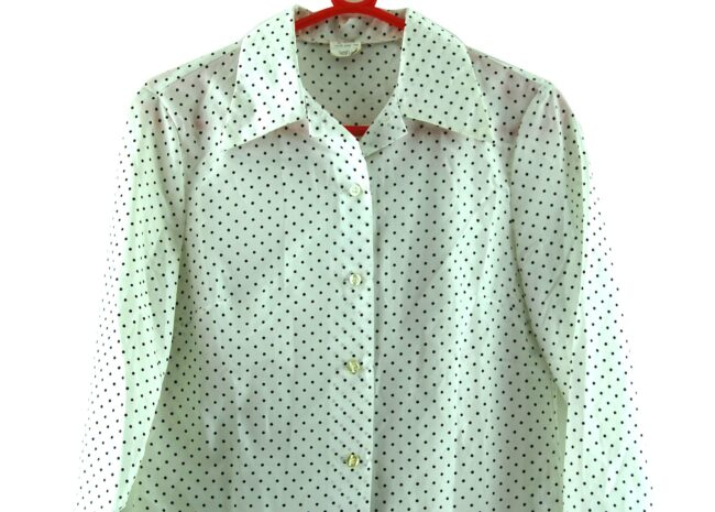Close up of 70s White Polka Dot Blouse