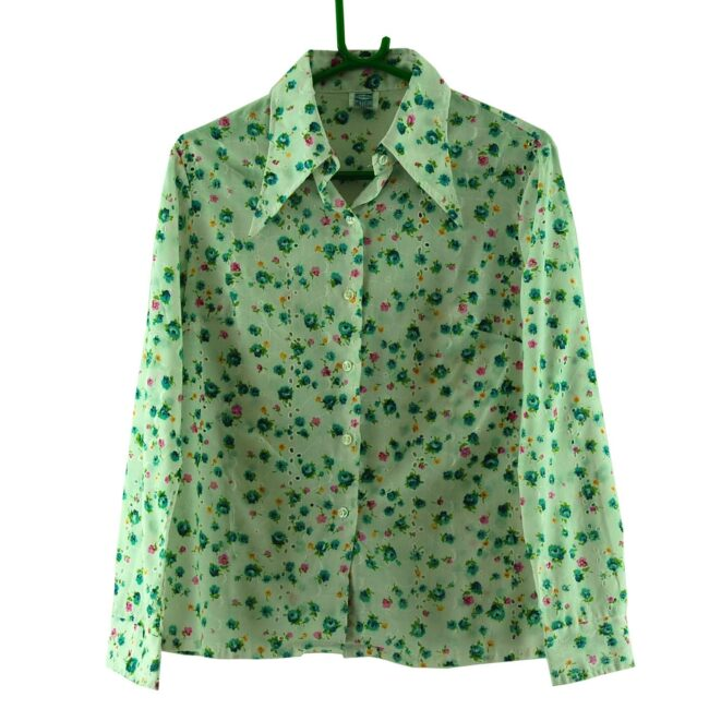 70s Floral Broderie Anglaise Blouse
