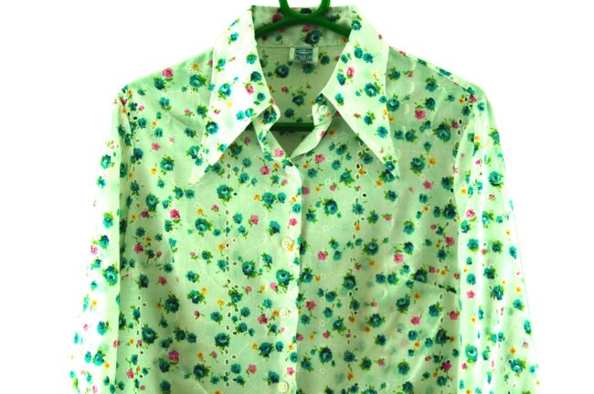 Close up of 70s Floral Broderie Anglaise Blouse