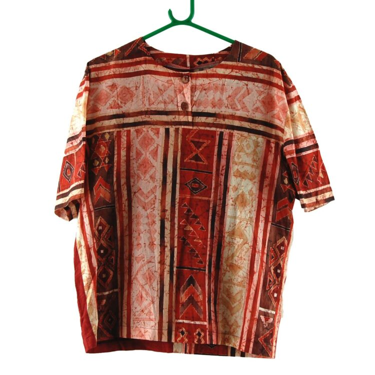 90s Red Tribal Print Blouse