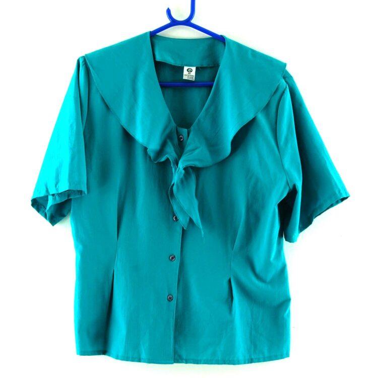 90s Turquoise Tie Neck Blouse
