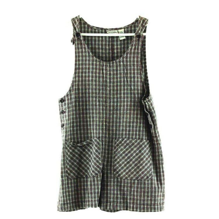 Womens Cropped Plaid Dungarees