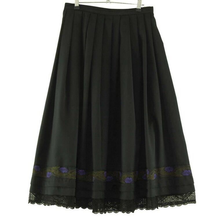 Long Black Silk Skirt