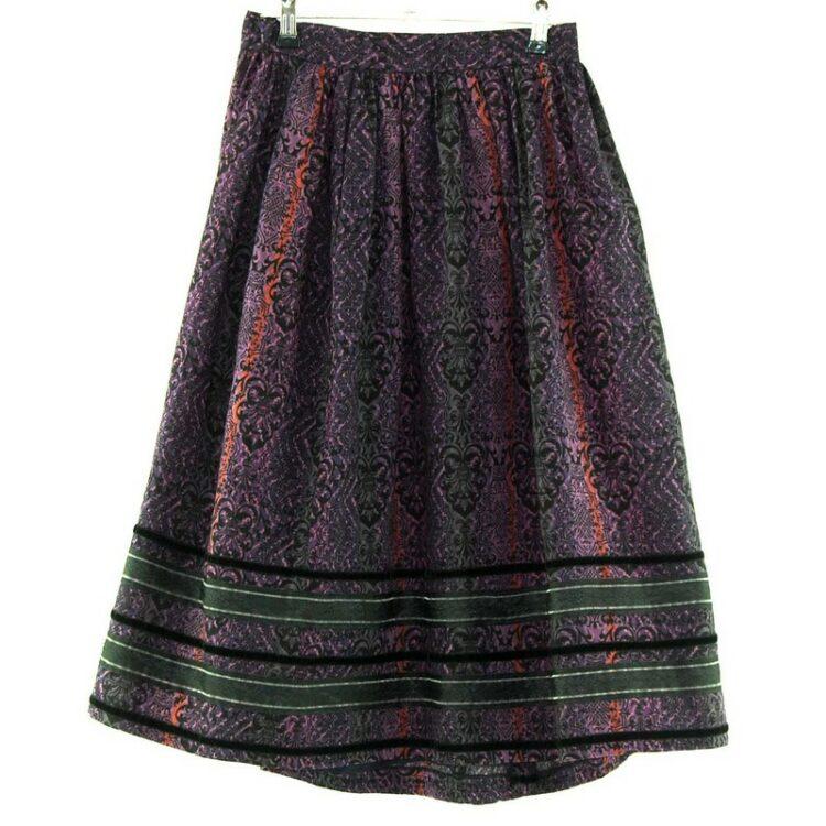 Patterned Purple Dirndl Skirt