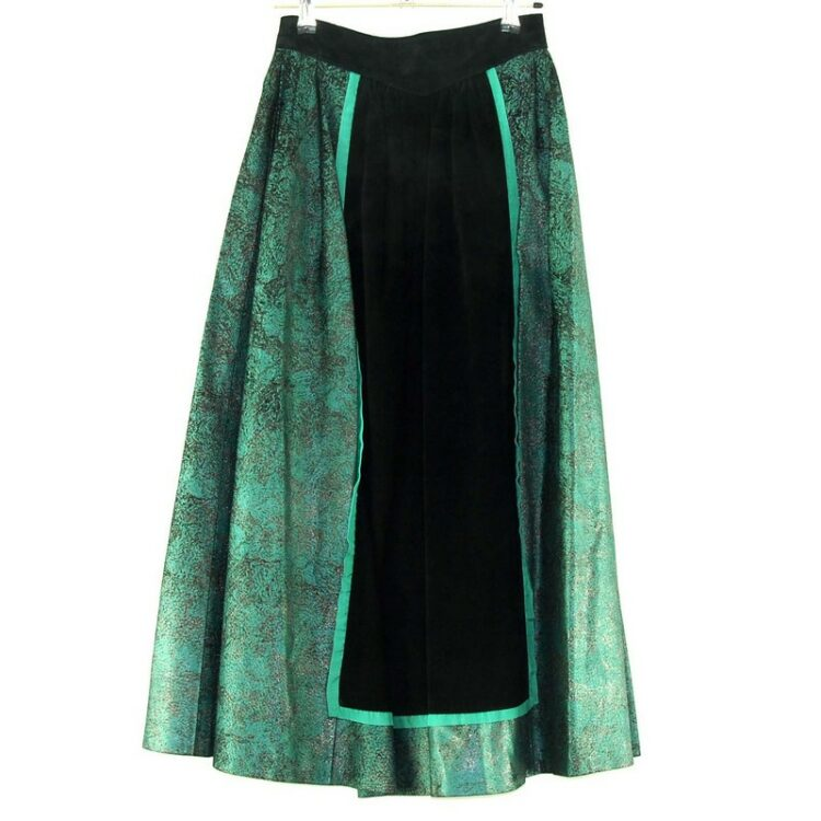80s Long Lurex And Black Suede Skirt