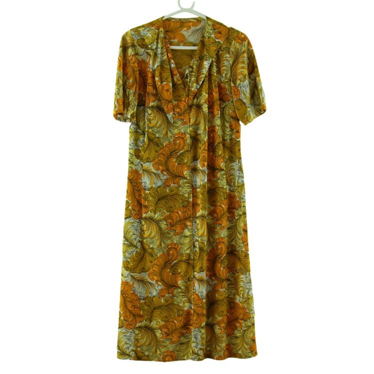 70s Scrollwork Print Dress